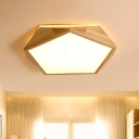 Wood Pentagon Shaped Flush Light Fixture Contemporary 16.5