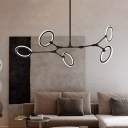 Metal Sputnik Hanging Ceiling Light Modern 5 Heads Black Chandelier Pendant Light