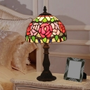 Antique Brass 1 Head Desk Light Victorian Multicolored Stained Glass Red Rose/Tulip/Pink Rose Table Light