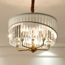 Drum Ceiling Chandelier Traditionary Clear Crystal 5 Bulbs Hanging Light Fixture with Curved Metal Arm