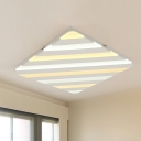 White Square Ceiling Light Fixture Simple Style Acrylic LED Flush Mount Lighting, 19.5
