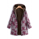 Women's Thick Casual Long Sleeve Hooded Zipper Front Floral Print Sherpa Lined Baggy Long Coat