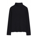 Plain Casual Long Sleeve Turtleneck Stretchy Fitted Tee for Ladies
