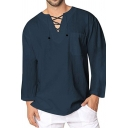 Unique Lace-Up V Neck Long Sleeve Whole Colored Oversized Shirt Top for Men