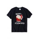 Street Girls' Short Sleeve Crew Neck Letter MERRY KISS MY ASS Santa Claus Print Baggy Tee