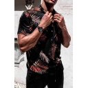 Black Exclusive Leaf Pattern Short Sleeve Button Up Hawaiian Shirt for Men