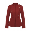 Unique Female Long Sleeve Stand Collar Button Detail Fitted Plain Blazer