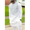 Mens African Fashion Striped Pattern Round Neck Long Sleeve Tunic White Shirt