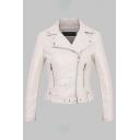 Elegant Fashion Ladies' Long Sleeve Notch Collar Zipper Button Detail Belted Ruched Slim Fit Plain Leather Jacket