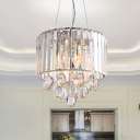 Round Suspension Light Simple Style Clear Faceted Crystal 6 Heads Bedroom Chandelier Lamp