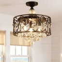 Drum Chandelier Light Fixture Modern Faceted Crystal Ball 3 Heads Antique Copper Suspension Pendant for Bedroom