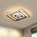 Square Flushmount Modern Style Acrylic LED Black Ceiling Mounted Fixture in Warm/3 Color Light