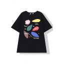 Fashion Women's Short Sleeve Crew Neck Letter STELLA LUMEN YES Mix Patterned Loose Fit Tee