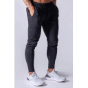 Mens Popular Solid Color Zipper Decoration Running Training Slim Pants