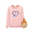 Pretty Basic Long Sleeve Crew Neck ETERNAL LOVE Letter Heart Printed Sherpa Lined Relaxed Sweatshirt for Preppy Girls