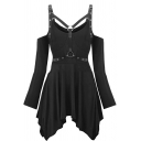 Fashion Chic Women's Long Sleeve Cold Shoulder Buckle Straps Asymmetric Plain Mid Pleated A-Line Dress