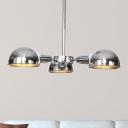3-Light Semi Flush Mount Industrial Dome Metal Ceiling Light in Black/Brass/Chrome for Living Room