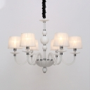 Fabric Conical Ceiling Chandelier Antique 6/8/12 Bulbs Hanging Light Fixture in White