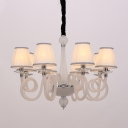 6/8/12 Bulbs Swirled Arm Chandelier Lighting Vintage Black/White/Red Glass Hanging Light Fixture with Cone Fabric Shade