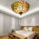 2 Lights Bloom Ceiling Lighting Tiffany Bronze Stained Glass Flush Mount Light for Living Room
