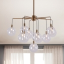 11 Lights Radial Chandelier Light with Hanging Globe Glass Shade Mid Century Modern Suspension Light