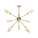 Diamond Bedroom Ceiling Light Fixture Amber/Clear Glass 9/12/15 Lights Industrial Style Adjustable Chandelier Lamp