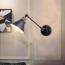 Industrial Cone Wall Lamp Fixture 1 Light Metal Sconce Light Fixture in Black for Bedroom
