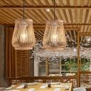 Bamboo Barrel Hanging Ceiling Light Asia 1 Light Beige Suspension Pendant for Dining Room