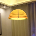 Domed Shaped Pendant Lamp Modern Bamboo 1 Light Dining Room Ceiling Light in Beige