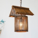 Brown House Shaped Pendant Lamp Asia 1 Light Bamboo Hanging Ceiling Light for Dining Room