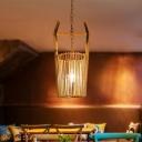 Barrel Shaped Bamboo Hanging Light Asia 1 Light Beige Suspension Pendant for Dining Room