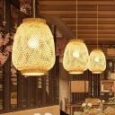 Lantern Pendant Ceiling Light Modern Bamboo 1 Light Beige Hanging Lamp for Dining Room