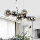 Orb Dining Room Island Lighting Idea Clear/Smoke Gray Glass 8 Lights Modern Style Hanging Lamp in Black/Gold