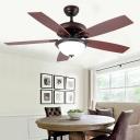 Wooden Dome Ceiling Fan Lamp Retro LED Restaurant Semi Flush Mount Lighting in Brown