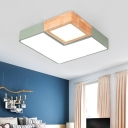 Splicing Ceiling Mounted Fixture Contemporary Wood Green LED Flush Light, Warm/White Light