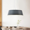 1 Light Dining Room Hanging Ceiling Light Contemporary Grey Down Lighting with Drum Metal Shade