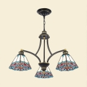 Stained Glass Pyramid Shaped Chandelier Lamp Tiffany 3/6/8 Lights Blue/Red Suspension Pendant Light for Living Room