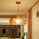 Beige Hat Pendant Lamp Chinese 1 Head Wood Hanging Light Fixture for Dining Room