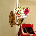 Stained Glass Rose Red Wall Lighting Blossom 1 Light Mediterranean Sconce Light Fixture for Living Room