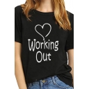 WORKING OUT Heart Pattern Short Sleeve Round Neck Graphic T-Shirt for Women