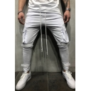 Whole Colored Drawstring Waist Pocket Side Velcro Decoration Skinny Cargo Pants
