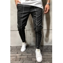 New Fashion White Tape Patchwork Eyelet Drawstring Waist Slim Fit Pencil Pants in Black