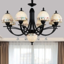 Tiffany Dome Chandelier Lamp 4/7/9 Lights Stained Art Glass Hanging Lamp Kit for Living Room with Crystal Droplet