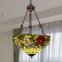 Tiffany-Style Rose Chandelier Light 2 Lights Cut Glass Suspension Lighting Fixture in Red/Orange/Yellow