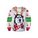 Huskie Dog with Antlers 3D Printed Long Sleeve Oversized Christmas Sweatshirt
