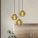 Contemporary Faceted Hanging Lighting Cognac Glass 1 Head Dining Room Ceiling Pendant Light