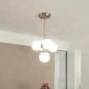Brass Globe Hanging Chandelier Modernist 5 Bulbs Frosted White Glass Pendant Light Fixture