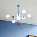 Blue Globe Island Light Modernism 7 Bulbs White Glass Ceiling Suspension Lamp for Dining Room