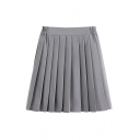 Gray Trendy High Waist Zip Front Short Pleated A-Line Skirt for Girls