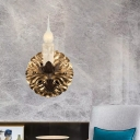Rust Candelabra Wall Lighting Fixture Countryside Metal 1 Light Bedroom Sconce Light